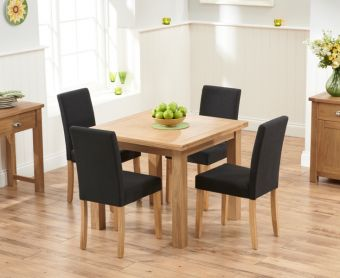 Somerset 90cm Flip Top Oak Dining Table with Black Mia Fabric Chairs