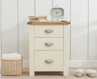 Somerset Oak and Cream Tall 3 Drawer Bedside Table