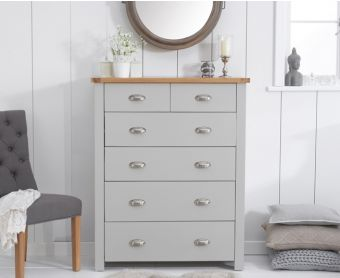 Somerset Oak and Grey 2 Over 4 Drawer Chest