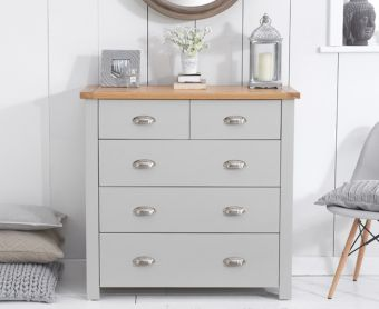 Somerset Oak and Grey 2 Over 3 Drawer Chest
