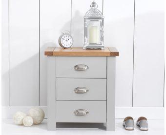 Somerset Oak and Grey 3 Drawer Bedside Table