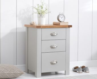 Somerset Oak and Grey Tall 3 Drawer Bedside Table