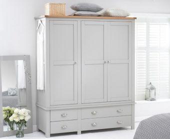 Somerset Oak and Grey 3 Door 4 Drawer Wardrobe