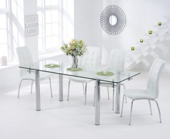 Geneva 140cm Glass Extending Dining Table with Calgary Chairs