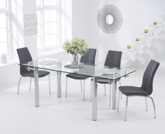 Geneva 140cm Glass Extending Dining Table with Cavello Chairs