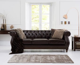 Henbury Chesterfield Brown Leather 3 Seater Sofa