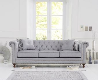 Milano Chesterfield Grey Fabric 3 Seater Sofa