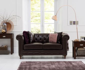 Milano Chesterfield Brown Leather 2 Seater Sofa