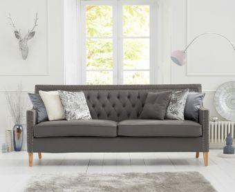 Chatsworth Chesterfield Grey Linen Fabric 3 Seater Sofa