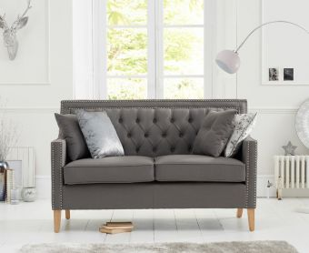 Chatsworth Chesterfield Grey Linen Fabric 2 Seater Sofa