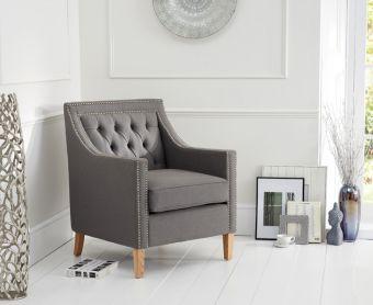 Chatsworth Chesterfield Grey Linen Fabric Armchair