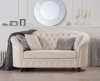 Cara Chesterfield Ivory Fabric Two-Seater Sofa