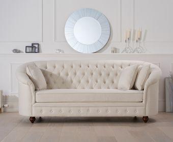 Cara Chesterfield Ivory Fabric Three-Seater Sofa