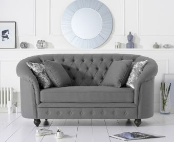 Cara Chesterfield Grey Fabric Two-Seater Sofa