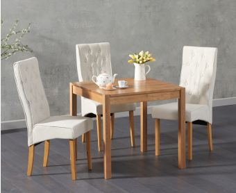 Oxford 80cm Solid Oak Dining Table with Jasper Fabric Chairs