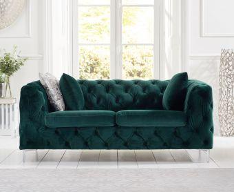 Ariel Green Plush 2 Seater Sofa