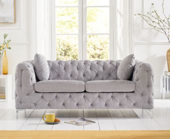 Ariel Grey Plush 2 Seater Sofa
