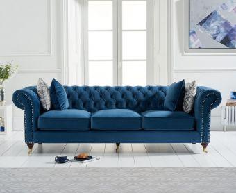 Cameo Chesterfield Blue Velvet 3 Seater Sofa