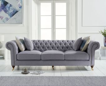 Cameo Chesterfield Grey Linen 3 Seater Sofa