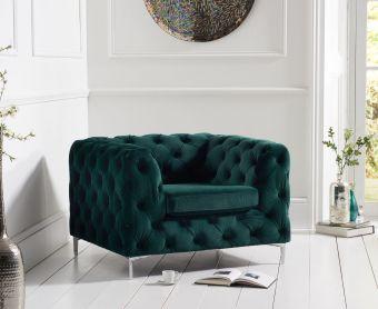 Ariel Green Plush Armchair