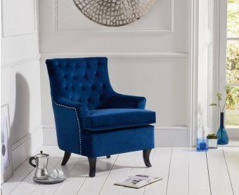 Bristol Blue Velvet Accent Chair