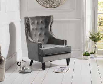 Pamela Grey Velvet Accent Chair