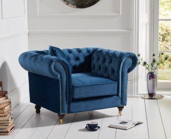 Cameo Chesterfield Blue Velvet Armchair