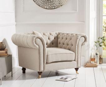 Cameo Cream Linen Armchair