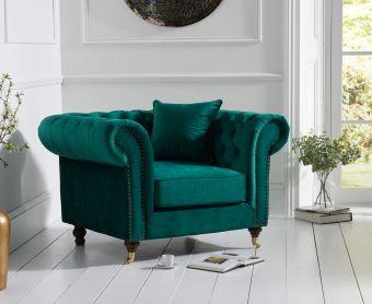 Cameo Chesterfield Green Velvet Armchair