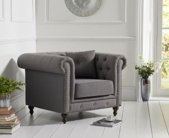 Milano Chesterfield Grey Linen Fabric Armchair