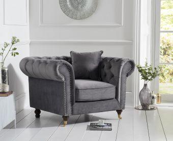 Cameo Chesterfield Grey Velvet Armchair