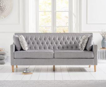 Chatsworth Chesterfield Grey Plush 3 Seater Sofa