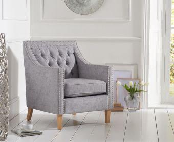 Chatsworth Chesterfield Grey Plush Armchair