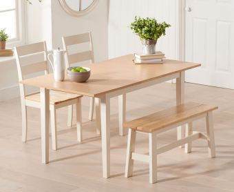 Chiltern 120cm Oak and Cream Extending Dining Table with Chairs and Bench