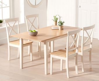 Chiltern 120cm Oak and Cream Extending Dining Table with Epsom Chairs