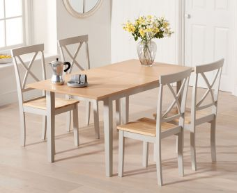 Chiltern 120cm Oak and Grey Extending Dining Table with Epsom Chairs