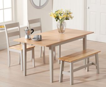 Chiltern 120cm Oak and Grey Extending Dining Table with Chairs and Bench