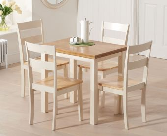 Hastings 60cm Oak and Cream Extending Dining Table with Chiltern Chairs