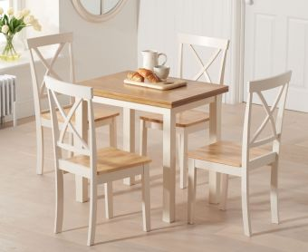 Hastings 60cm Oak and Cream Extending Dining Table with Epsom Chairs