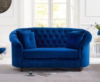 Cara Chesterfield Blue Plush Velvet Two-Seater Sofa