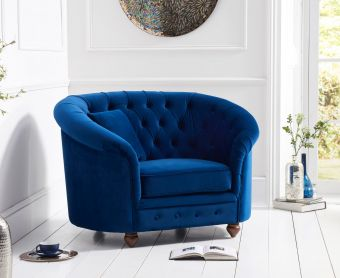 Cara Chesterfield Blue Plush Fabric Armchair