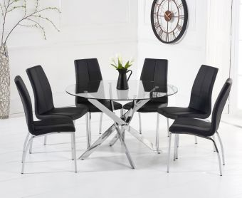 Denver 120cm Glass Dining Table with Cavello Chairs