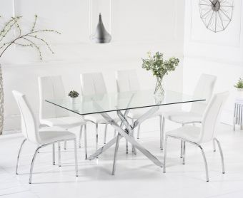 Denver 160cm Glass Dining Table with Cavello Chairs