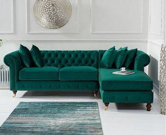 Fusion Medium Green Velvet Right Facing Chesterfield Chaise Sofa
