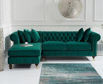Fusion Medium Green Velvet Left Facing Chesterfield Chaise Sofa