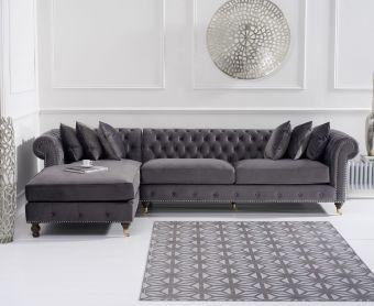 Fusion Grey Velvet Left Facing Chesterfield Chaise Sofa