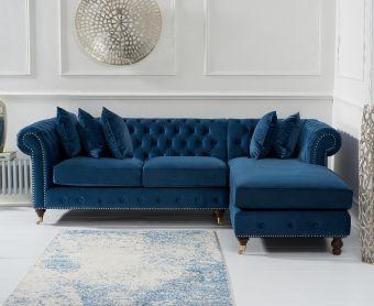 Fusion Medium Blue Velvet Right Facing Chesterfield Chaise Sofa