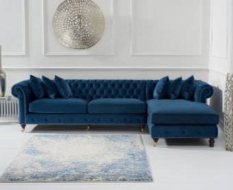 Fusion Blue Velvet Right Facing Chesterfield  Chaise Sofa