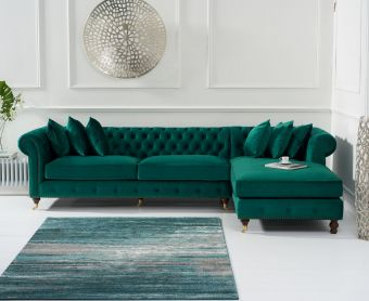 Fusion Green Velvet Right Facing Chesterfield Chaise Sofa