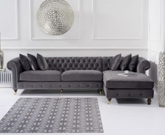 Fusion Grey Velvet Right Facing Chesterfield Chaise Sofa